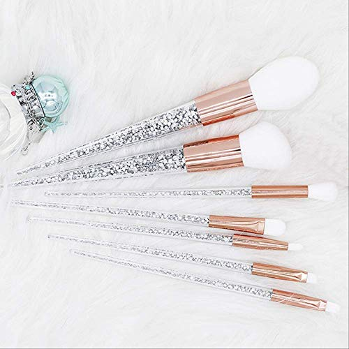YMKMM Make-Up-Tools 7 Stücke Silber Diamant Kristall Make-Up Pinsel Set Foundation Blending Powder Eye Face Pinsel Makeup Tool Kit   7 Stücke -