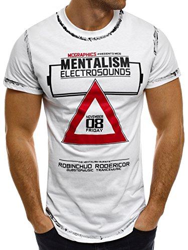 OZONEE Herren T-Shirt mit Motiv Kurzarm Rundhals Figurbetont J.STYLE SS023 Weiß_J-STYLE-SS025