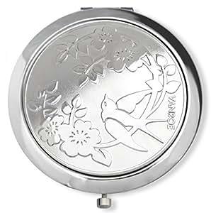 Rose & oiseau d'hirondelle - miroir de poche ou de sac - étain gravable, idéal pour souhaiter bonne chance