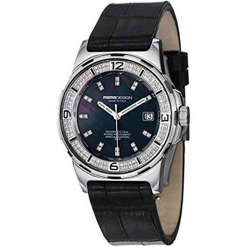 MomoDesign Pilot Diamonds Women's 37mm Sapphire Glass Date Watch MD093-D-01BK-LS