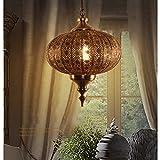 Retro Eisen Kreativ Rund Pendellampe Vintage Nostalgie innen Design Orient Lampen Antike Kupferfarbe Hängende Lampen E27 Edison Küche oder Hängend über den Esstisch Flur Leuchte Lampe (Ø30cm×H40cm)