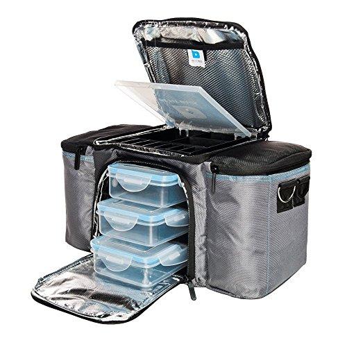 BeFit Bag Gris: Bolsa Organizadora de Alimentos de Alta Calidad - Compartimento de Almacenamiento Aislado para Mantener los Alimentos Frescos, con 3 Recipientes y 2 Sacos de Hielo. Ideal para el Trabajo y el Gimnasio o para realizar Pícnics. ¡Alimentación Saludable para Hombres y Mujeres! width=