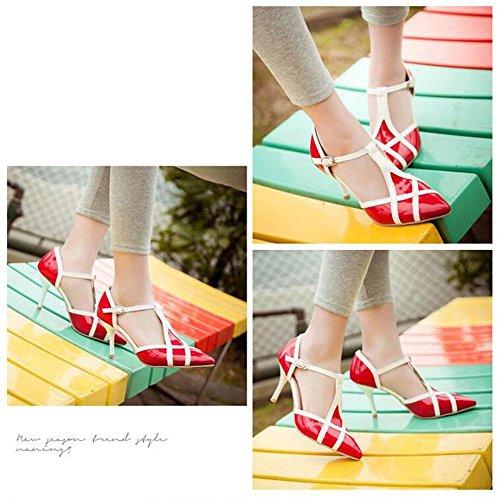 GLTER Frauen spitzen Zehe T-Strap Pumps Lackleder PU Hit Farbtipp Fine High-Heel Sandalen können angepasst werden 30-48 Special Size Red