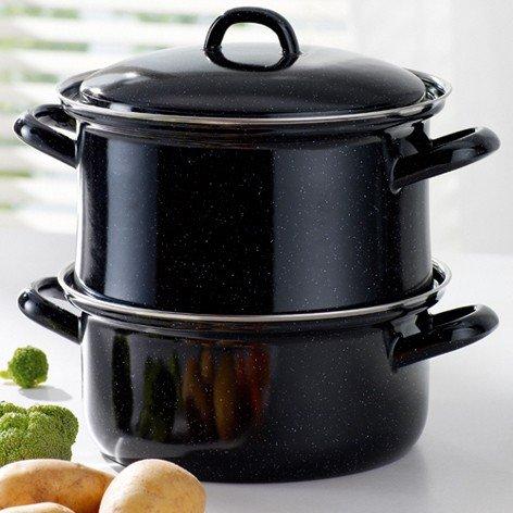 Preisvergleich Produktbild Riess 454720 Kartoffelkocher, Edelstahl, schwarz, 40 x 23 x 13 cm