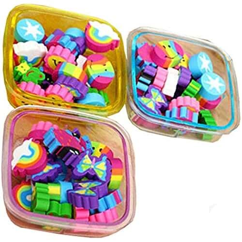 material para la escuela kawaii 22pcs / Caja Cute Gomas de borrar Escolar Papeleria Regalo para Niño, Color Aleatorio (Square)