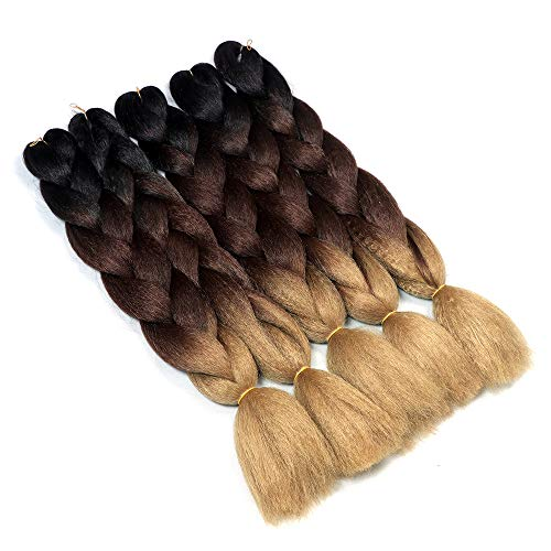 Ymhpride 5 pezzi/500 g 24 pollici kanekalon sintetico intrecciare i capelli estensione 2 tono ombre xpression jumbo treccia capelli nero, (marrone e marrone chiaro)