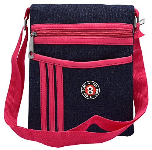 Tap Fashion Pink Denim Sling Side Bag Cross Body Multi Pocket Purse for Women & Girls  available at amazon for Rs.349