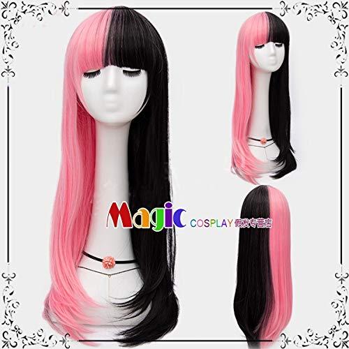 Perücken täglich schwarz Puder grau weiß gold rot doppelt lange glatte Haare Hali Kui Yin Clown weibliche Cos Perücke, schwarz Puder Farbe passend LW1792, eine Größe