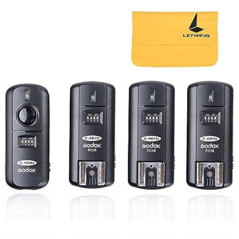 Godox Flash Speedlite Déclencheur FC-16 (1 Emetteur + 3 Récepteur) HSS 1/250s 16 Canaux 2.4GHz Télécommande Sans Fil pour Caméra Appareil Photo Nikon D5000 D4 etc
