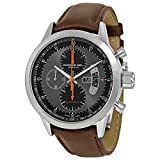 Raymond Weil Mens 45mm Brown Leather Band Titanium Case Automatic Grey Dial Watch 7745-TIC-05609