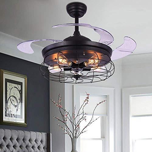 WangLei Unsichtbare 42-Zoll-Deckenventilatorleuchte mit Fernbedienung, Wohnzimmerküche, einziehbare Ventilatorlampe/Inneneinrichtung, industrielle Wind-Deckenleuchte (schwarz) [Energieeffizienzklass -