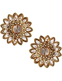 Spargz Traditional Gold Plated AD Stone LCT Color Antique Flower Earring Stud For Women