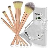 Becoyou pennelli professionali 5PCS viso cosmetici spazzole kit a forma di sirena con Whorl manico antiscivolo per fondotinta in polvere lip blush, correttore, ombretto e per rose-oro