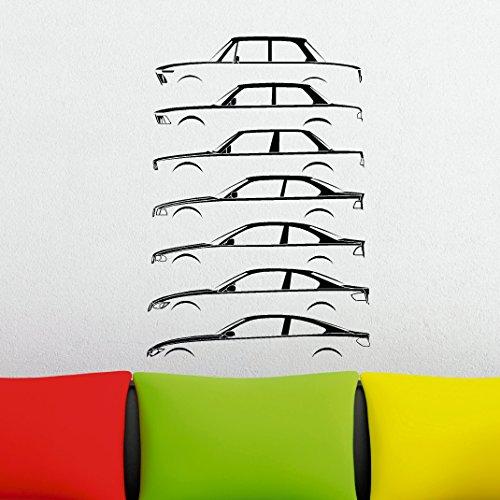 sticker mural silhouette de voiture historique-sur-BMW 2002, e21, e30 e36 e46, e90 et 3, Coupe-series F30