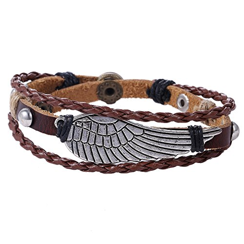 Morella brown braided leather bracelet with angel wings pendant for ladies