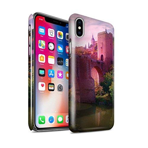 Officiel Elena Dudina Coque / Clipser Brillant Etui pour Apple iPhone X/10 / Lagune de Montagne Design / Fantaisie Paysage Collection Pont Château/Fossé