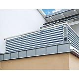Power-Preise24 Balkon Sichtschutz 90 x 500 cm - Balkonumspannung - langlebiges & UV Beständiges HDPE Gewebe - wetterfeste Balkonbespannung, Farbe:Blau-Weiß