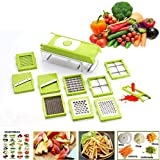 JD 12 In 1 Vegetable Cutter - Chopper, Chipser, Grater, Slicer Dicer, Peeler - All In One (Green)