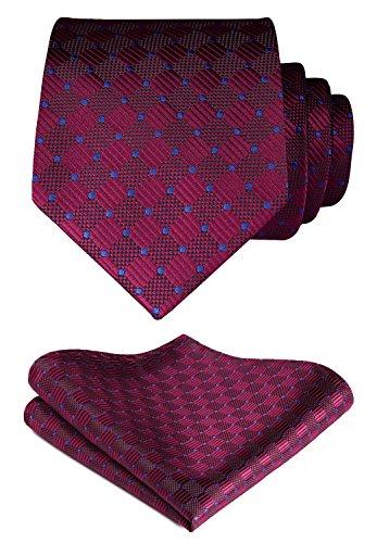 Hisdern Herren Krawatte Taschentuch Check Krawatte & Einstecktuch Set Burgund & Blau
