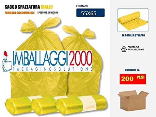 Imballaggi2000 Sacchetti Per Differenziata Gialli 55x65 in rotolo pezzi (200)