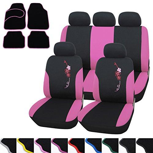 WOLTU Auto Sitzbezüge Bezug für PKW ohne Seitenairbag + Fußmatten Auto matten Set Rosa/Schwarz 7286+7136