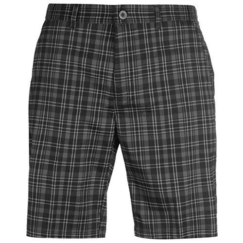 Grau Kariert Shorts (Slazenger Herren Kariert Golf Shorts Sommer Kurze Hose Gürtelschlaufen Charcoal/Schwarz 36)