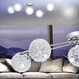 MIA Light 5-flammige Deckenleuchte aus Glas und Alu in chrom aus Kugeln mit Drahtgeflecht
