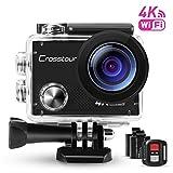 Action Cam, Sport-Kamera 4K Wi-Fi Camera mit Fernbedienung Ultra HD Crosstour 30M Unterwasserkamera...