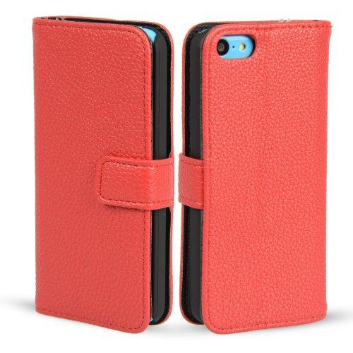MADCASE Apple iPhone 5C Premium Leder/Harthülle/Gel/Silikon/Strapazierfähig/Durchsichtig/Klar/Portemonnaie/Kreditkartenhalter Flip Case Bumper Ständer Hülle mit Display Schutz und Eingabestift - Weich Lichi Textur PU Leder - Rot