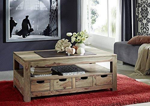 sheesham BOIS MASSIF TABLE BASSE 120x70 PALISSANDRE meuble bois massif naturel gris #33