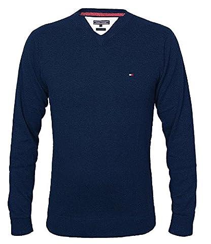 Tommy Hilfiger Herren Vneck Pullover CLASSIC HTR V-NK CF, Farbe:Navy;Größe:XL