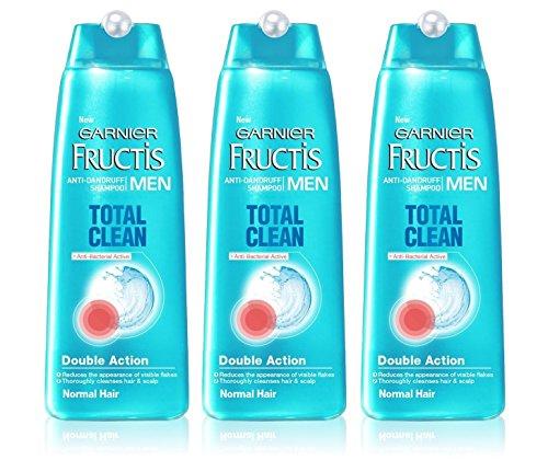 3x Garnier Fructis Anti-Dandruff Shampoo TOTAL CLEAN Mens for Normal Hair 250ml