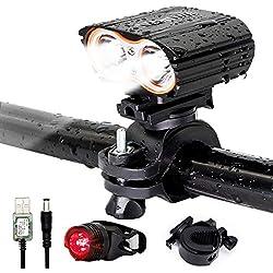 LED Fahrradbeleuchtung set, QITAO Wasserdicht Fahrradlichter led akku,4 Licht-Modi, entfernen,Rücklicht Set/energiesparend/stoßfest,schwarz