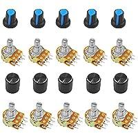 WayinTop 10pcs B10K 10K Ohm Potenciómetro Lineal Cónico Rotativo con Perillas y Arandelas (Lineal Individual B10K)
