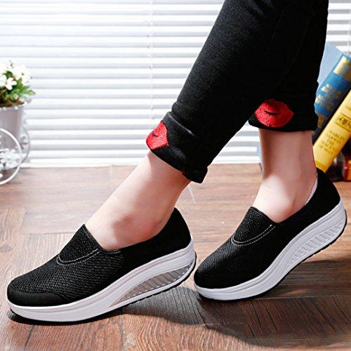 Damen Slipper mit Luftkissen Slip on Mesh Atmungsaktiv Leicht Weich Rutschhemmend Bequem Freizeit Modisch Schuhe Schwarz