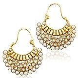 Adiva Pearl Hoop Earring For Women White...