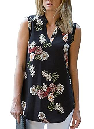 d587ad7b5d5 Aleumdr Womens Casual Summer 2018 Tunic Blouse V Neck Sleeveless Lush Floral  Printed T-Shirts