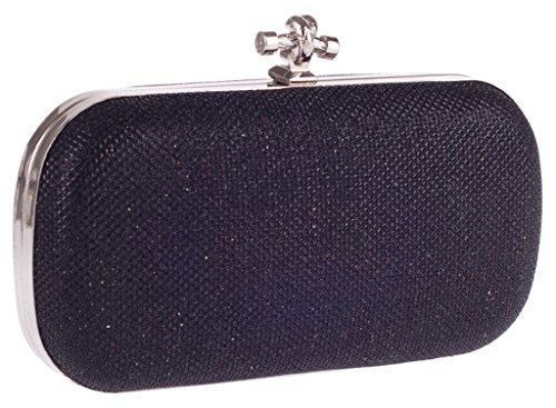 ERGEOB Damen Abendtasche klassische wilde Art und Weise Frauen Clutch Bag silber 04 schwarz