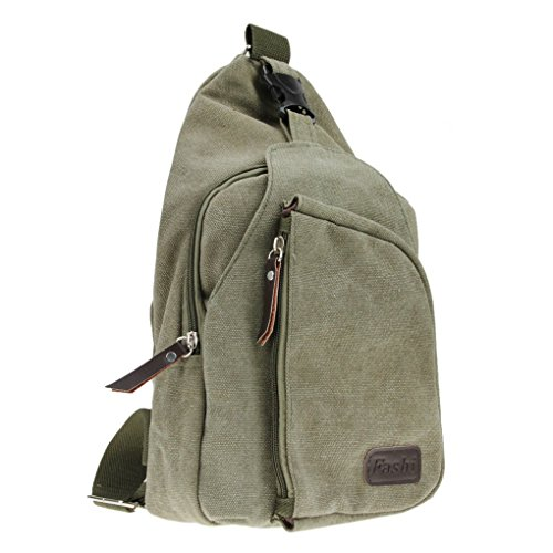 FakeFace Neu Retro Umhängetasche Rucksack Brusttasche Schultasche Brustbeutel Tragetasche Multifunktionrucksack für Outdoor Grün