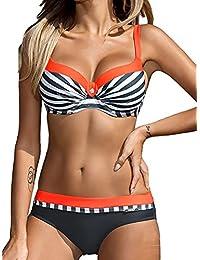 Bikini Sets Damen Sexy Bademode Push Up Bikinis Badeanzug Zweiteiler Strand Swimwear Swimsuits Beachwear Orange,XL