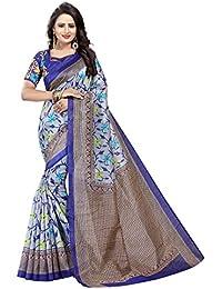 Blue Bhagalpuri Woven Saree With Blouse