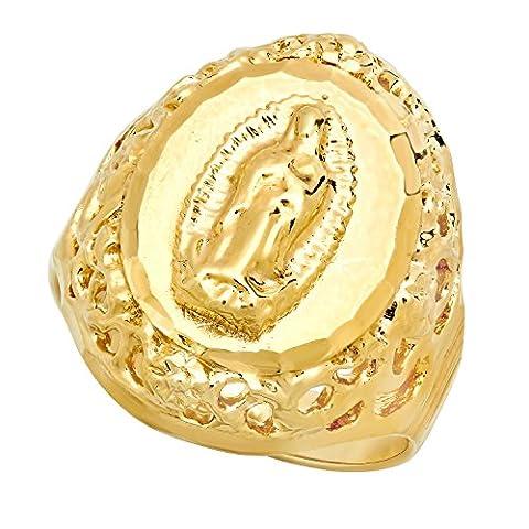 Vierge Marie plaquée or de 14 mm encadrée avec anneau