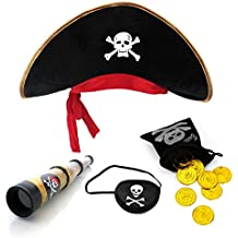 sombrero de pirata + parche en el ojo pirata telescopio + 20 pirata bolsa de dinero monedas de oro del tesoro tesoro bolsa de pirata para pequeño pirata pirata de rol telescopio sombrero de capitán parche en el ojo niño capitán Partido Pirata