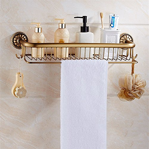 Antiquariato tutti europei-ottone asciugamano asciugamano da bagno per montaggio a parete hardware è confezionato, incorporata nel ripiano