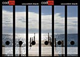 Set 6 Stück Ordner-Etiketten selbstklebend (Ordnerrücken Aufkleber Sticker) Steg ins Meer