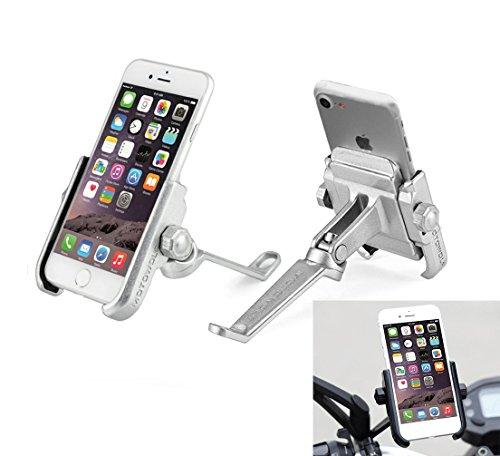 Supporto Smartphone Universale Moto Specchietto Retrovisore Ruotabile in Alluminio per Motociclo Motorino Scooter per Cellulare Navigatore GPS