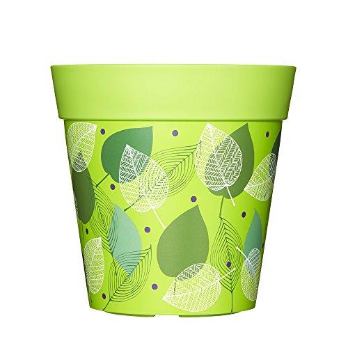 Macetas de exterior para jardín, maceta de plástico, 22cm, plástico, Green Leaves, 5 L