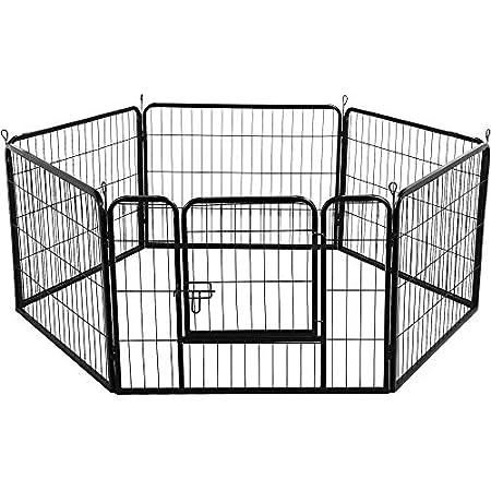 Yaheetech Welpenauslauf Laufgitter Welpenfreigehege Hundegehege Laufstall mit Tür Zaun Gitter Welpen Hasen Kaninchen…