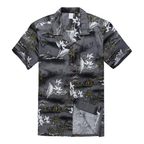 Camisa-hawaiana-de-Luau-del-Hawaiian-del-muchacho-Solo-en-Mapa-gris-y-surfista-16-Aos