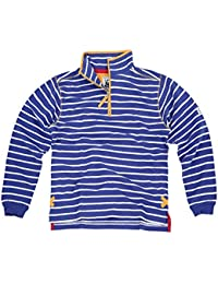 Lazy Jacks Ladies Quarter Zip Stripe Sweatshirt - White Blue Turquoise